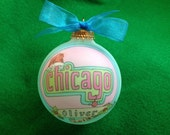 Chicago, Windy City, Second City, Chitown, Handpainted Personalized  Ornament, Totally Original Design