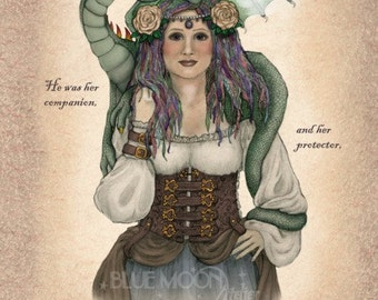 Steam - steampunk dragon signed print - Mary Layton