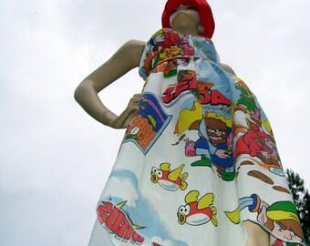 Zelda Mario Sundress 1988 Nintendo Dress OoaK Upcycled Comic Con Geek Gamer Cruise Resort Beach Maternity Super Sundress S M L XL Adult