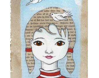 Free as a bird  - A4 size art print for nursery , childrens room - home decor