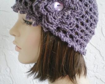 hand crochet cloche ~ maryjane mesh ~ dusty purple tweed