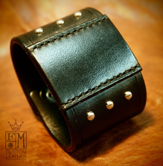 Black leather cuff 2 inch wide studded and Handstitched patch American bridle Bracelet made in NYC!
