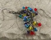 Hard Candy multicolor primary colors gunmetal finish Swarovski Crystal cascade french hook earrings