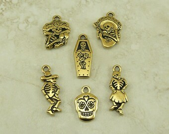 6 TierraCast Day of the Dead Charms Mix Pack > Dia De Los Muertos Skull Skeleton  22kt Gold Plated Lead Free Pewter Ship Internationally b17