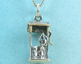 Sterling Silver Wishing Well Charm Pendant no. SC26020