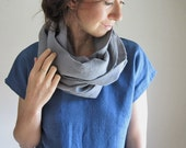 Stone Grey Linen Scarf, Cowl Infinity, Washed Linen, Slate Gray, Made to Order