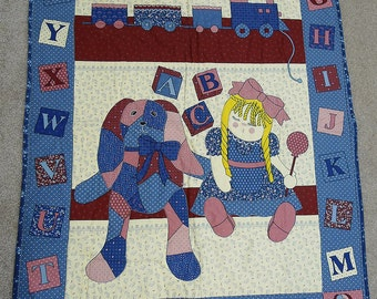 """FROM A to Z . 1970 vintage quilted baby comforter . cotton . 44"""" x 35.5"""""""