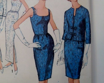 1960's Evening Dress and Jacket  Vintage Simplicity 5658 Pattern  - Bust 34