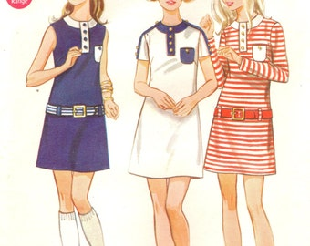 Butterick 5605 Hip Belted Mini Dress circa 1960s Size 13 / 14
