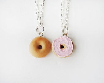 Strawberry Cream Cheese Bagel Halves Best Friends Necklace Set