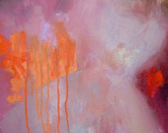 Abstract painting, fiery orange, pale pink, red, dark rose, lilac, oil on canvas, 16 x 12 inches