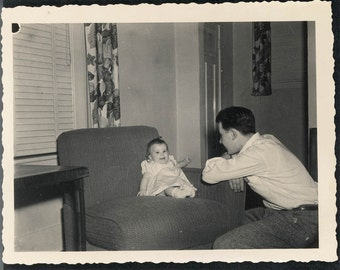 Vintage Snapshot 1950 Daddy's Little Girl Baby w Dad in Awe fathers day