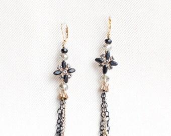 Vintage Upcycled Earrings / Black Rhinestone / Gold Chain Dangle Earrings