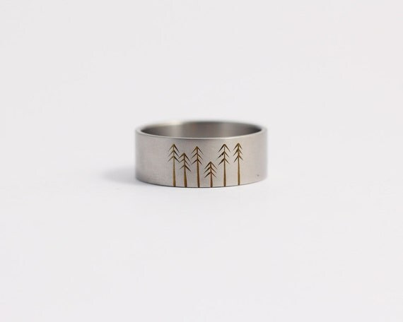 Titanium Wedding Band Wedding Ring with Pine Trees