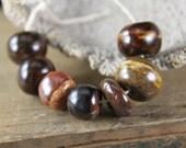 Handmade stoneware ceramic beads Earthy Brown Assortment (7)