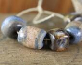 Handmade stoneware ceramic beads Blue and Gray Assortment (5)