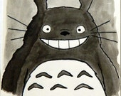 Hand painted Watercolor Totoro Birthday Card, Happy Birthday Totoro card - MADE TO ORDER