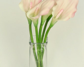 Medium Latex Calla Lily in Light Pink and White - 20 Inch Stem