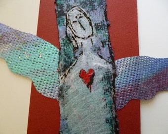 PeaceSwirl Faith Angel original mixed media painting