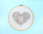 Wall Art Hand Embroidered - Tree Heart - Personalized