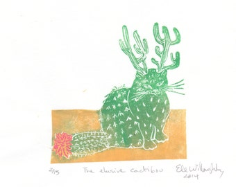 The Elusive Cactibou Mini Print, a linocut imaginary cactus cat caribou animal - Cryptozoology, Imaginary Zoology Tiny Lino Block Print