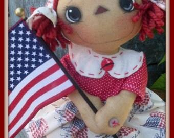 Primitive Raggedy Ann ePATTERN INSTANT DOWNLOAD Patriotic Anne #161 Hafair Faap