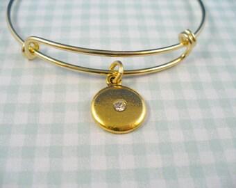Antique Gold Plated Disk Charm, Central Crystal, Adjustable Bangle, Gold Bangle Bracelet, FREE Boxes
