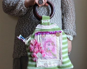 Sale! Upcycled handbag Green. Pink. Felted knitting bag FREE US ship