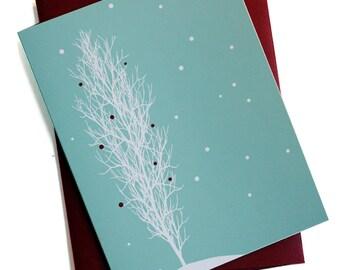 Christmas Cards / Holiday cards - Set of 8 - Snowfall Tree