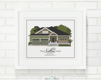 House Illustration, Home Illustration, Family Home Portrait, Home Drawing, Gift for Mom, Grandparent Gift, Real Estate Closing, Moving Gift