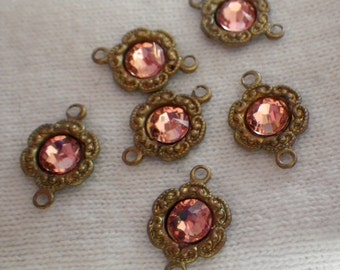 Rose Peach Swarovski Crystal Tiny Daisy Brass Ox Connectors Two Loops 6 Pcs