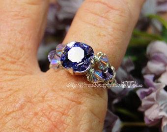 Tanzanite Swarovski Crystal Hand Crafted Ring Wire Wrapped Original Signature Design Ring Fine Jewelry December Birthstone