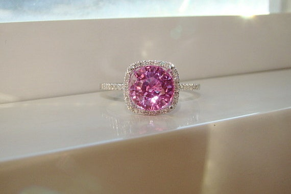 Large Halo Pink Sapphire Diamond Ring Gemstone Engagement Ring