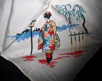 Vintage Silken Asian Handkerchief