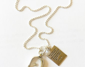 Mustard Seed and Quote Necklace, Silver Bead Chain, Accent Cross Necklace, Vintage Style Charms - Faith and Change - Mustard seed Pendant