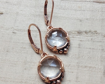 Leaf Solitaire Earrings in White Topaz and Rose Gold Covered Pink Silver