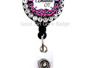 Retractable Badge Reel - Pink Cheetah Blue Zebra - Personalized Name with Swarovski Rhinestones