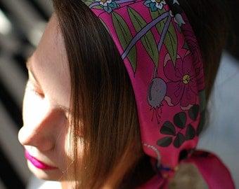 Fuchsia Floral Women's Silk Scarf