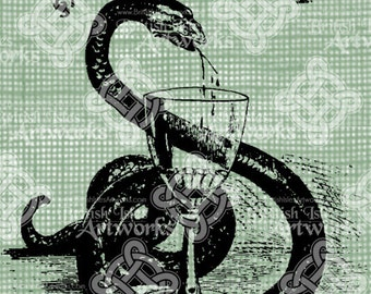 Digital Download Snake Poison Halloween Vintage graphic, digi stamp, Gothic, Scary Creepy Snake and Wine Glass Digital Transfer