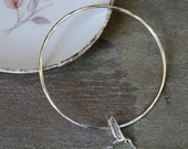 Hummingbird Bangle, Solid Sterling Silver Bracelet, Bird in Flight Charm Bangle