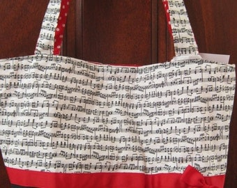 Musical Red & Black Tote