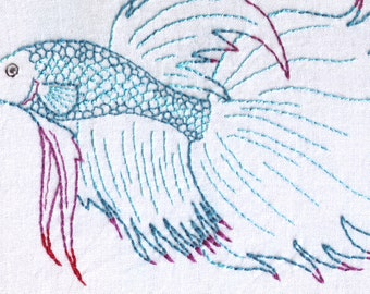 Betta Max Detailed Siamese Fighting Fish Hand Embroidery Pattern
