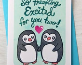 Excited for you Two Penguins - Wedding Engagement Card - Gender Neutral
