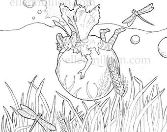 Summer Bubbles Fairy Digi Stamp Digital Coloring Page - for scrapbooking or cards or coloring