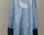 Blue Ajah Aes Sedai Wheel of Time Inspired Fringed Satin Brocade Shawl Cape Stole