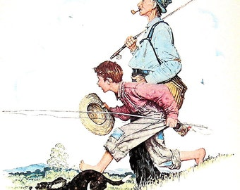 Grandpa and Me Going Fishing - Vintage1978 Norman Rockwell Print - 9 x 11