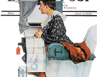 Maiden Voyage - 1976 Norman Rockwell Print - Saturday Evening Post Cover Reproduction - 14 x 10
