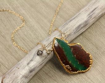 Organic Chrysoprase Gold Trim Necklace