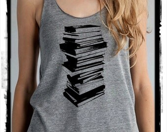 STack of Books Girls Ladies Heathered Tank Top Shirt screenprint Alternative Apparel