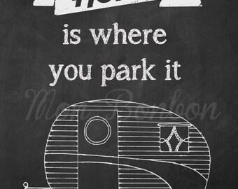 Chalkboard Vintage Trailer Art - 8x10 - DIY -You Print Art -Print at Home - INSTANT DOWNLOAD